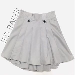 Ted Baker gray pleated high low midi skirt 4 6 S
